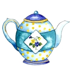 Watercolor teapot on the white backgrounds vector
