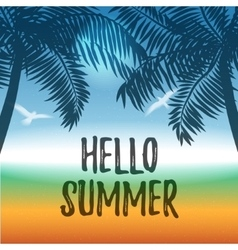 Summer background with ocean and palms vector