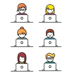 Set of people with computer icons in line style vector
