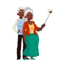 Elder grey-haired african american couple taking vector