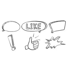 A doodle set of callouts and symbols vector image
