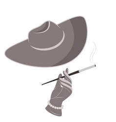 A lady in a hat and gloves smokes a cigarette vector