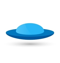 blue UFO or a flying spaceship for vector image