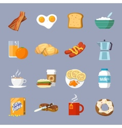 Breakfast icon flat vector