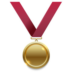 champion gold medal on red ribbon vector image vector image