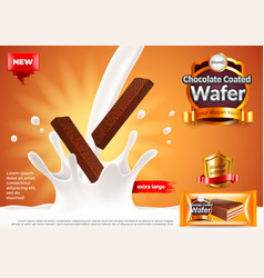 Chocolate coated wafer ads pouring milk vector