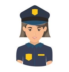 Colorful portrait half body of policewoman vector