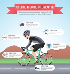 Cycling or biking infographic design template vector