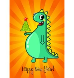 Dragon and Christmas tree vector image