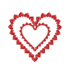 Drawing valentine day heart decorative vector