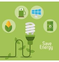 Eco light bulb save energy items vector