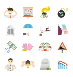 Economic crisis flat icons vector
