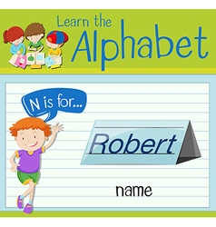 Flashcard letter n is for name vector