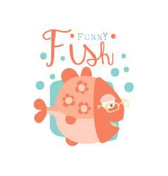 Funny fish logo baby shop label fashion print vector