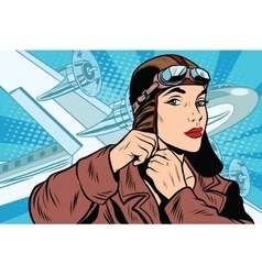 girl pilot prepares for departure vector image