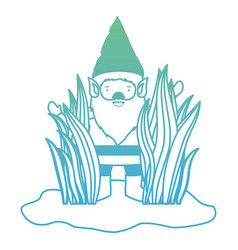 gnome coming out of the bushes in degraded green vector image vector image