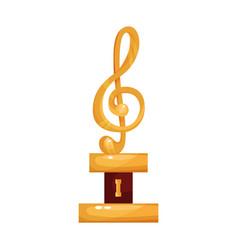gold treble clef music award statuette cartoon vector image