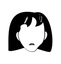 Head girl people faceless line vector
