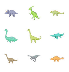 herbivorous dinosaurs icons set cartoon style vector image