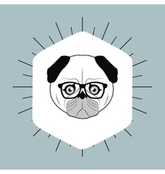 Hipster style pug dog image vector