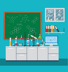 laboratory equipment jars beakers flasks vector image