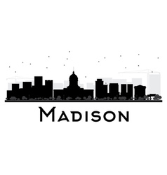 Madison city skyline black and white silhouette vector