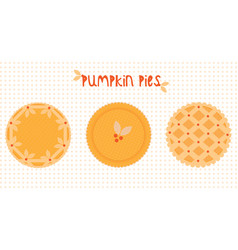 Pie icons whole traditional pumpkin pies with vector
