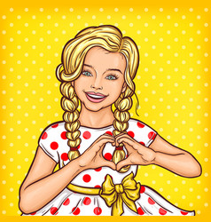 Pop art smiling little girl showing heart vector