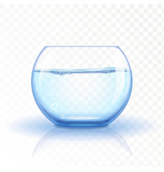 Realistic glass fishbowl aquarium with water on vector image vector image