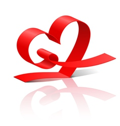 Red ribbon heart vector image