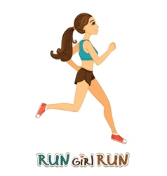 Running girl isolated vector image