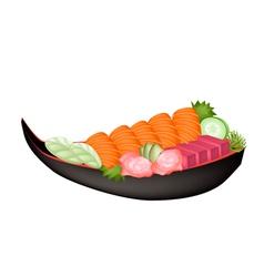 Salmon sashimi and tuna sasimi on wooden boat vector
