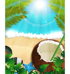Sea background with palm trees and coconut vector
