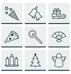 Set of 9 celebration icons includes sliced pizza vector