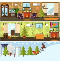 set of banners with christmas home vector image