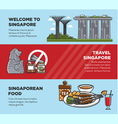 Singapore travel tourist landmark symbols and vector