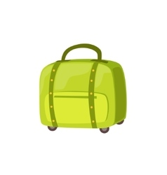 Small green suitcase on wheels item from baggage vector