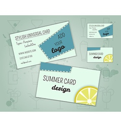 Summer cocktail party business card layout vector image vector image