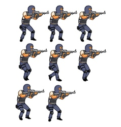 SWAT Officer Walking Animation vector image