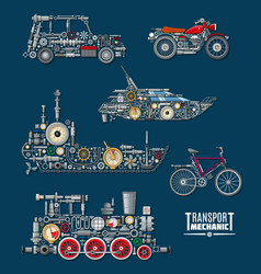 transport vehicles mechanics and mechanisms vector image