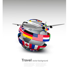 travel background globe with a plane and a circle vector image vector image