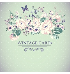 Vintage Floral Card with Butterflies vector image