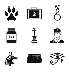 Worship cat icons set simple style vector