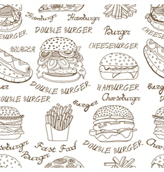 Background of sketchy fast food vector