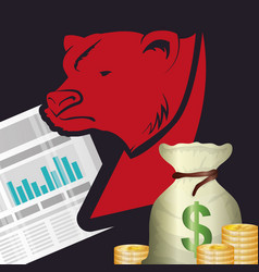 Wall street bear statistics bag money vector