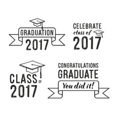 congratulations graduate 2017 graduation set vector image