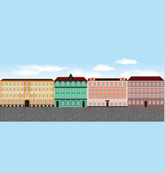 Europe city street set 6 multi-colored vector