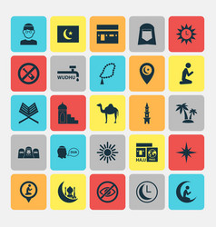 Ramadan icons set collection of forbidden vector