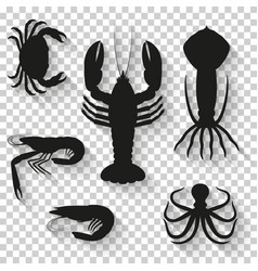 Seafood icons set silhouette icons with shadow on vector