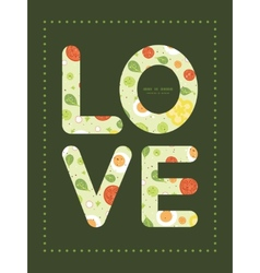 Fresh salad love text frame pattern vector